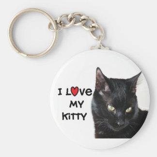 "Black Cat Keychain ""I love my Kitty"
