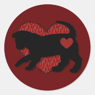 Black Cat Kind of Love Classic Round Sticker