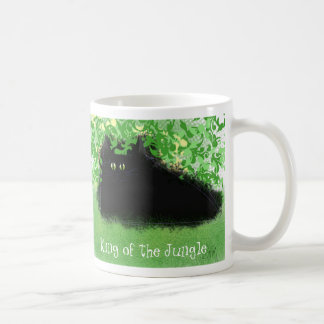 Black cat king of the jungle coffee mug