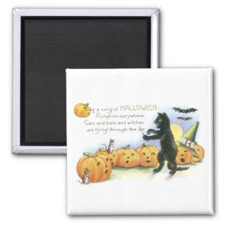 Black Cat Leading Jack O' Lantern Halloween Choir Magnet