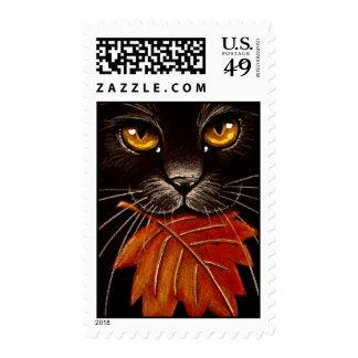 Black Cat & Leaf Stamps