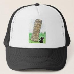 BLACK CAT LEANING TOWER OF PISA TRUCKER HAT