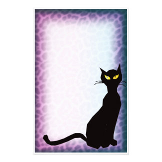 black cat leopard stationery paper