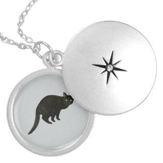 Black Cat Locket Necklace