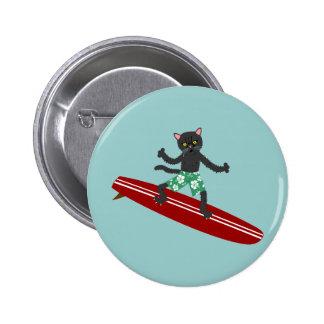 Black Cat Longboard Surfer 2 Inch Round Button