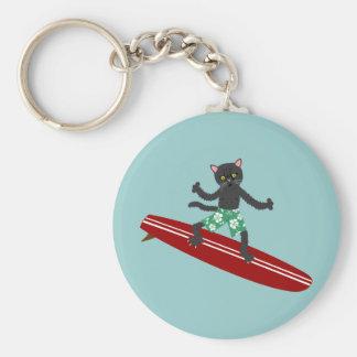 Black Cat Longboard Surfer Basic Round Button Keychain