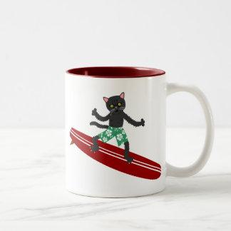 Black Cat Longboard Surfer Two-Tone Coffee Mug