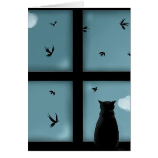 Black Cat Looking Out Window At Heaven Card