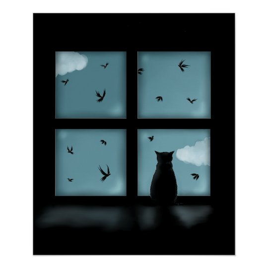 Black Cat Looking Out Window At Heaven Poster