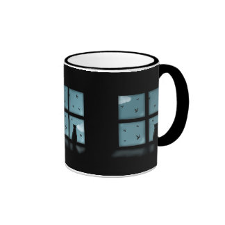 Black Cat Looking Out Window At Heaven Ringer Mug