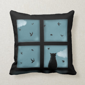 Black Cat Looking Out Window At Heaven Throw Pillow