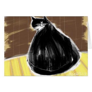 Black cat looking over shoulder card