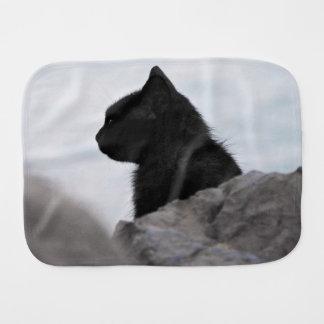 Black cat looks away baby burp cloth