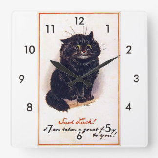 Black cat, Louis Wain Square Wall Clock