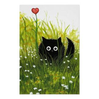 Black Cat Love Poster by Bihrle