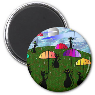 Black Cat Lovers Art Gifts 2 Inch Round Magnet