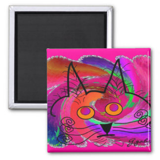 Black Cat Lovers Art Gifts 2 Inch Square Magnet