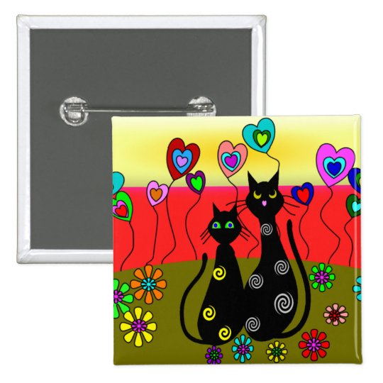 Black Cat Lovers Art Gifts Pinback Button