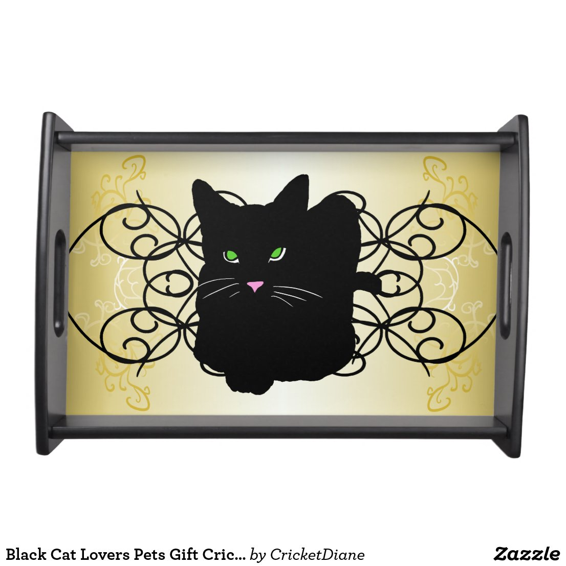 Black Cat Lovers Pets Gift CricketDiane Serving Tray