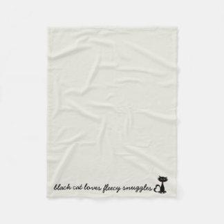 black cat loves fleecy Fleece Blanket