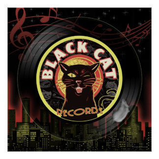 Black Cat LP Art Deco Poster