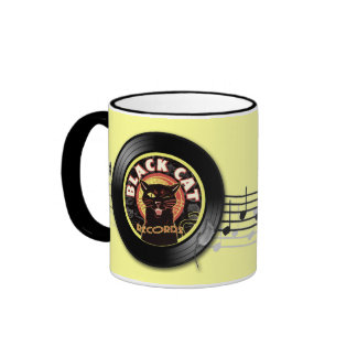 Black Cat LP Art Deco Ringer Mug