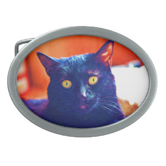 Black Cat Lucky Feline Cat Art Oval Belt Buckles
