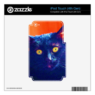 Black Cat Lucky Feline Cat Art Skins For iPod Touch 4G