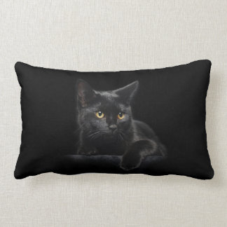 Black Cat Lumbar Pillow
