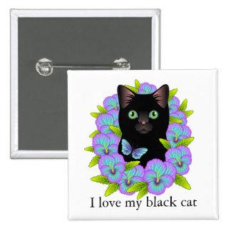 Black Cat Magic I Love My Cat Cute button