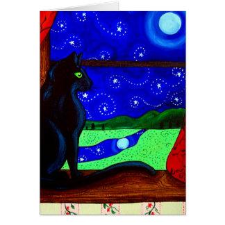 Black Cat Magical Night Greeting Card