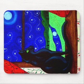 Black Cat Magical Night Mouse Pad