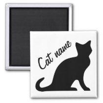 Black cat magnets | Personalizable pet name