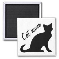 Black cat magnets   Personalizable pet name
