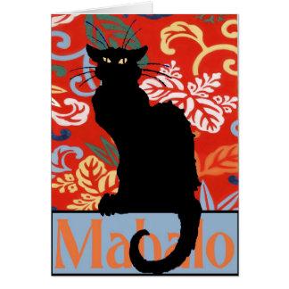Black Cat, Mahalo, Thanks, Poster Card