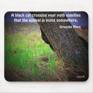 Black Cat Meme with quote by Groucho Mouse Pad