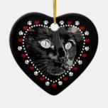 Black Cat Merry Christmas Heart Ornament