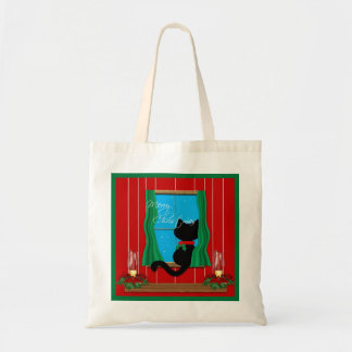 Black Cat Merry Christmas  Holiday Tote Bag