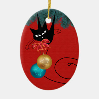 Black Cat Merry Christmas Oval Ornament