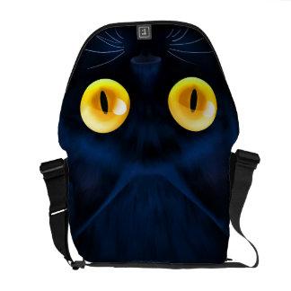 Black Cat messenger bag - yellow eyes