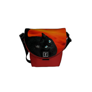 Black Cat Mini Messenger Bag Red