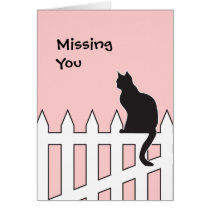 Black Cat Missing You Please Come Home Soon Card