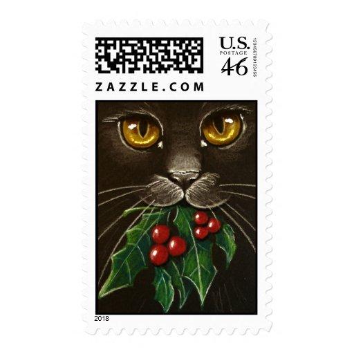 Black Cat & Mistletoe Stamp