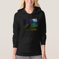 Black Cat Moon Fall Leaves Creation arts Hoodie