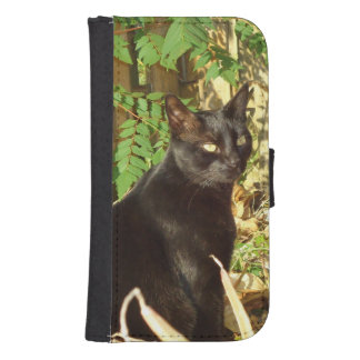 Black Cat Morning Sun Galaxy S4 Wallet Case