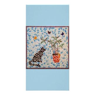 Black Cat Mosaic Custom Photo Card