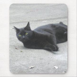 Black  Cat Mouse Pads