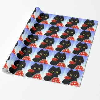 Black Cat Mouse Valentine's Day Creationarts Wrapping Paper