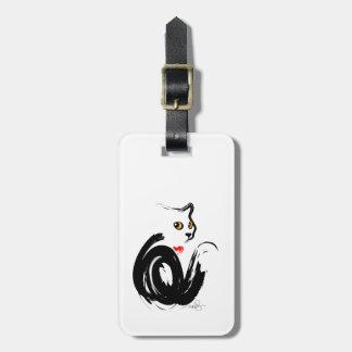 Black Cat 'n' Heart Bag Tag