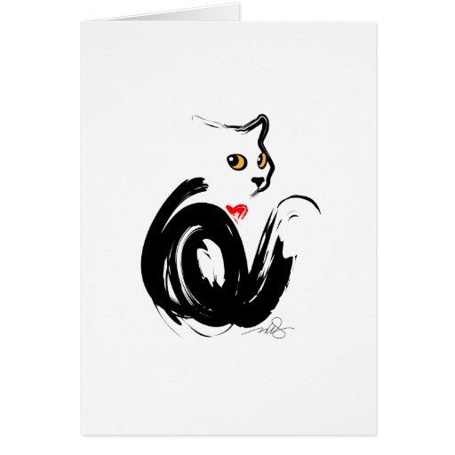 Black Cat 'n' Heart Card